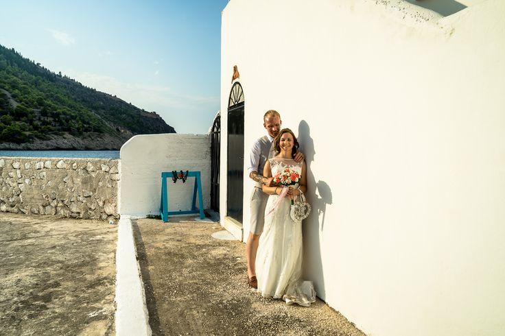 Beautiful combination of blue - white - green  - Perfect location for weddings #weddinginkefalonia #chapelwedding #ionianislands