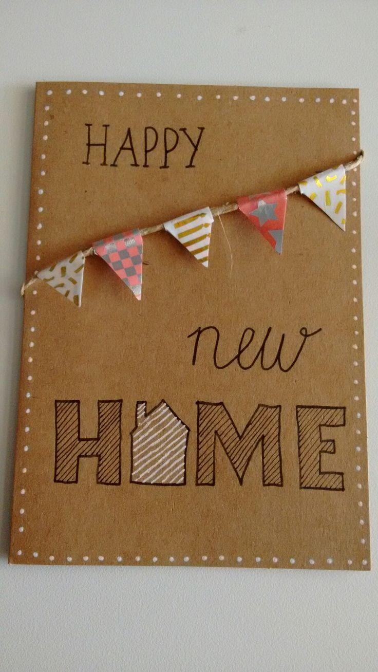 Handlettering new home kaart vlaggetjes