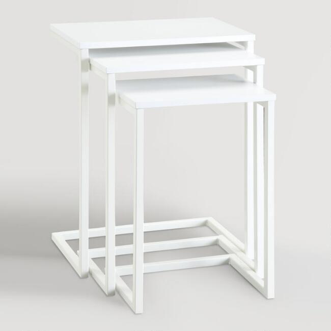 White Zinnia Nesting Tables Set of 3 - v1