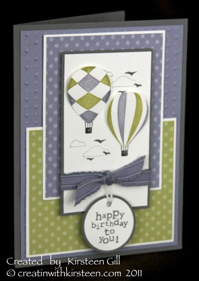 Kristeen GillStamp Sets, Balloons Cards, Stampin Up, Stamps Sets, Happy Birthday Cards, Birthday Tags, Hot Air Balloons, Paper Crafts, Balloons Hot