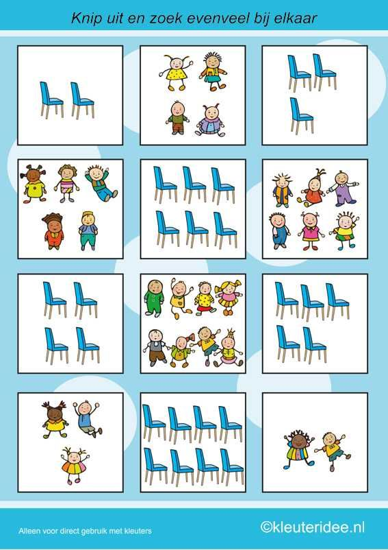 Find as many chairs as children, kleuteridee.nl, calculating with preschoolers, free printable.