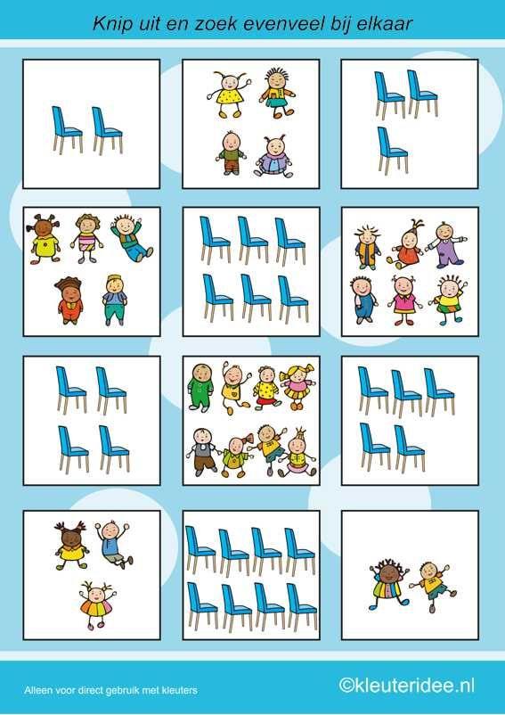 Zoek evenveel stoelen als kinderen, kleuteridee.nl , rekenen met kleuters, free printable.
