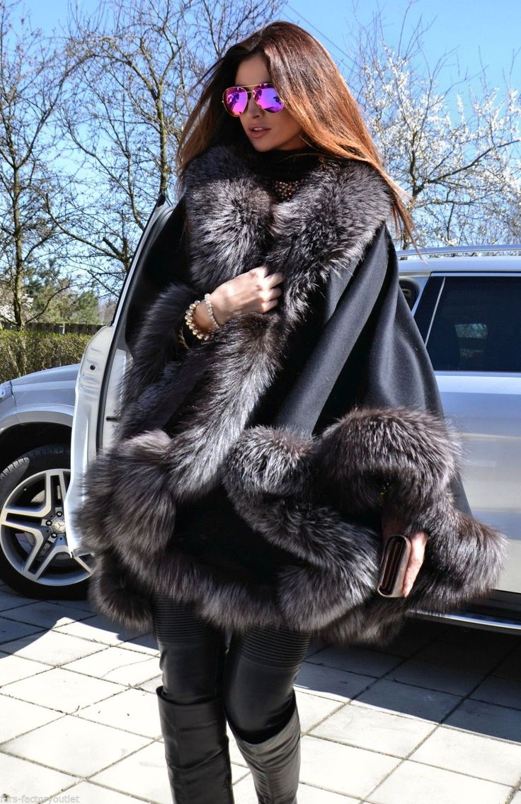 2015 Milano Silver FOX FUR Cashmere Poncho Class Mink Sable FOX Coat Jacket Saga | eBay