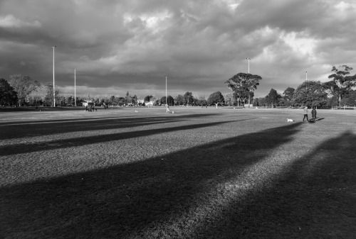 Shadows on a Pitch  Caulfield North, Victoria, Australia. July 2015.