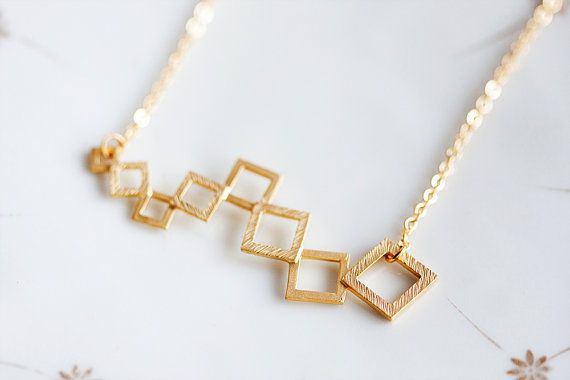 Gold Squares Necklace Geometric Modern Necklace by SilentRoses. This shop is really cool and unique and the items are made in Denmark. Bought this for my mum and it's gorgeous.