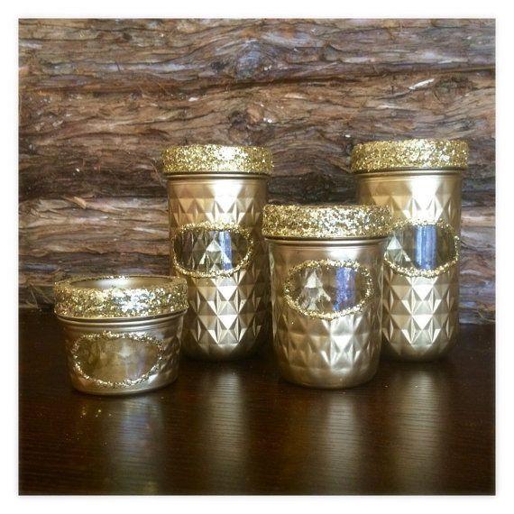 Gold Mason Jar set Gold Desk Organizer gold by AmericanaGloriana