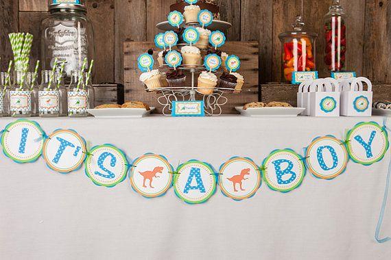 Dinosaur Baby Shower Decorations - IT'S A BOY Baby Shower Banner - Dinosaur Baby Shower Decorations - Dinosaur Shower Theme