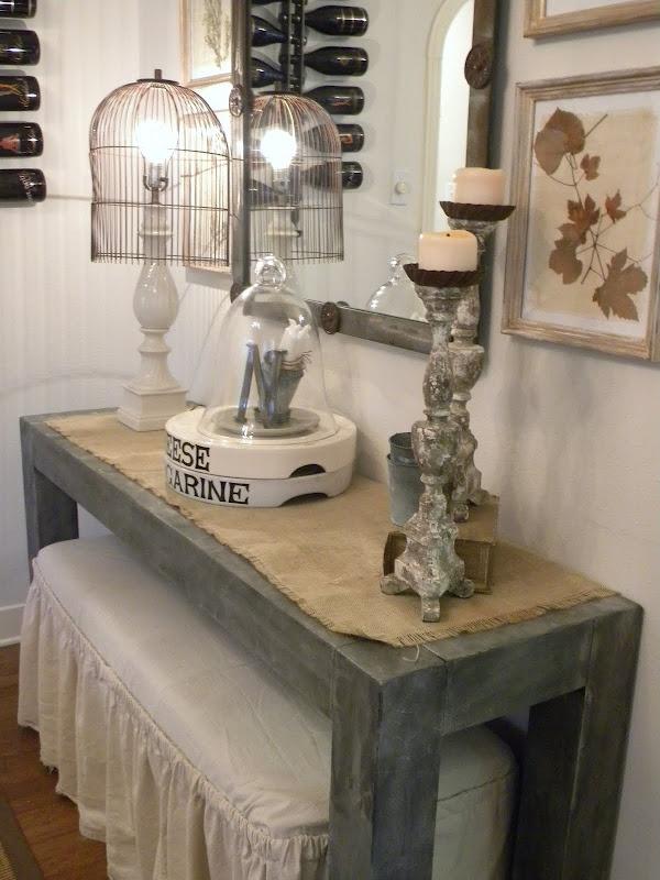 DIY zinc finish: Entryway Tables, Antiques Pewter, Decor Ideas, Diy Zinc, Diy Crafts, Zinc Tables, Birdcages Lamps, Foyers Tables, Hallways Tables