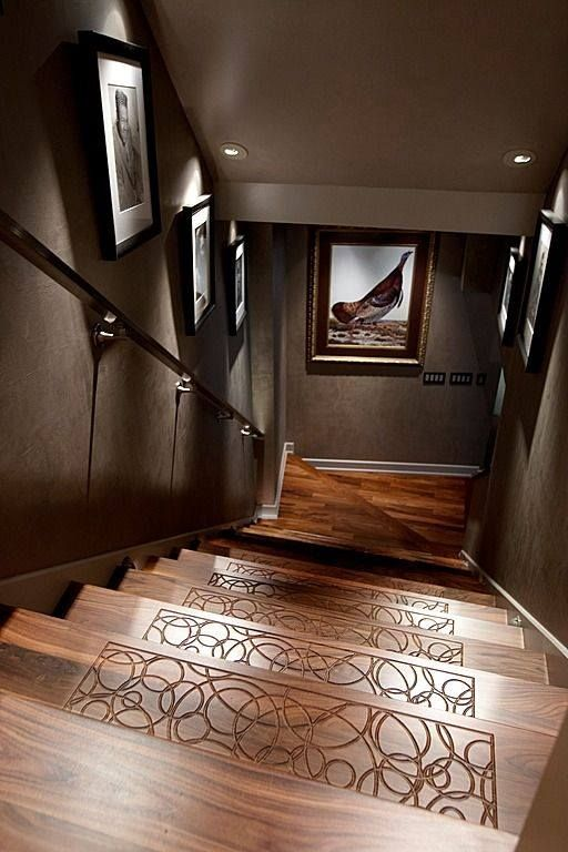 Textured etchings on the stairs keeps socks from slipping---smart or silly?  #stairs #homes #interiordesign
