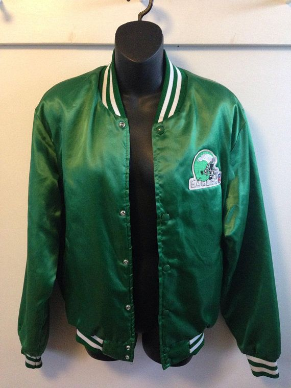 the latest 88fd5 aaff8 Vintage 80s NFL Philadelphia Eagles satin sideline Swingster ...
