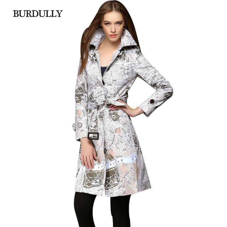 Fashion Winter Autumn Women Gabardina Mujer British Style Trench Coat For Women Windbreaker Map Printing Slim Warm Large Size