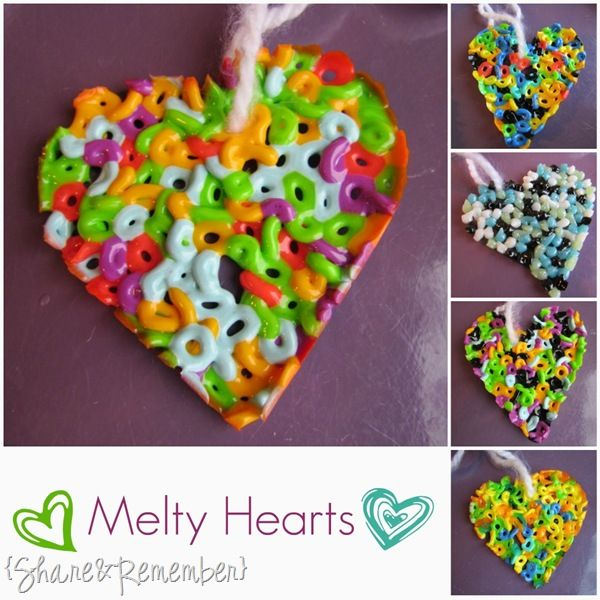 melty heartsHeart Crafts, Heart Shape Beads, Heart Necklaces, Melted Beads, Heart Projects, Perler Beads, Cookies Cutters, Christmas Ornaments, Holiday Valentine