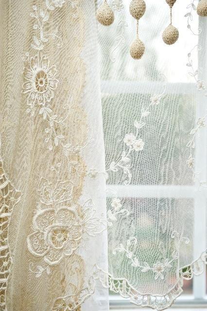 ♥~ old lace on windows ~♥                                                         #lace. #shabbychic