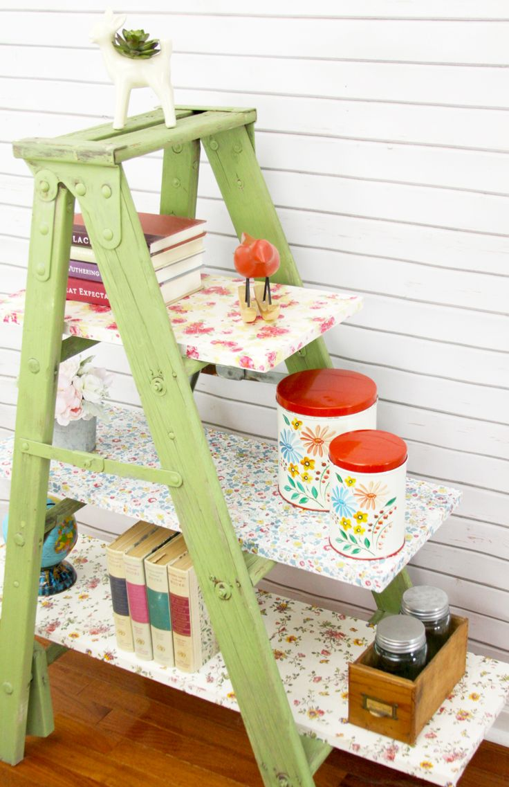 This pretty Vintage Floral Mod Podged Ladder Shelving is so easy to create with a vintage ladder, some fun floral napkins and a little Mod Podge!