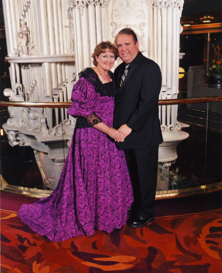 I wore this Victorian dress made from Recollections on our recent cruise with Holland America.