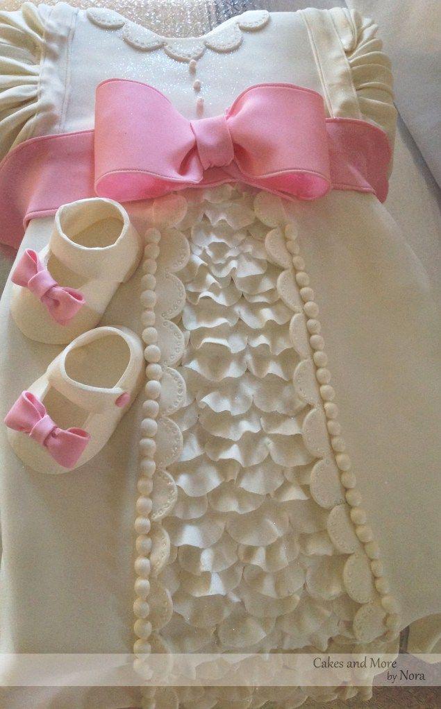 Pink & White Baptism dress & shoes cake.