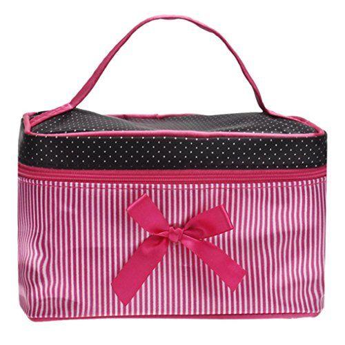 YJYdada Square Bow Stripe Cosmetic Bag