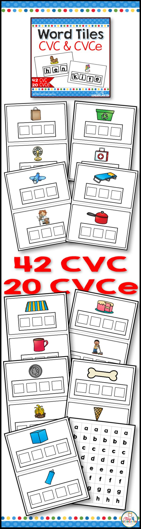 Word tiles CVC and CVCE literacy center activities.  These fun and engaging word tile mats are great for building phonemic awareness with kindergarten students.  They can be used for RTI first and second grades too.  Students use the letter tiles to build the CVC and CVCE words your kindergarten students will be practicing their phonics, decoding and spelling skills.  Use with small groups for intervention and reteaching- great for 1st & 2nd grade, ELD, homeschool  & special education.