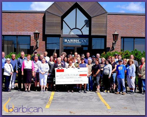 Barbican's donation to the Fort Erie Art Council, a non-profit organization, will help to fund the town's new Arts Theatre, slated to be opened with the new high school, in September 2017.