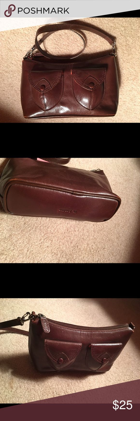 M. London Brown Leather Small Shoulder Handbag Great Condition. Measures about 9 inches across. Soft Leather. Front Snap Pockets M. London Bags Shoulder Bags