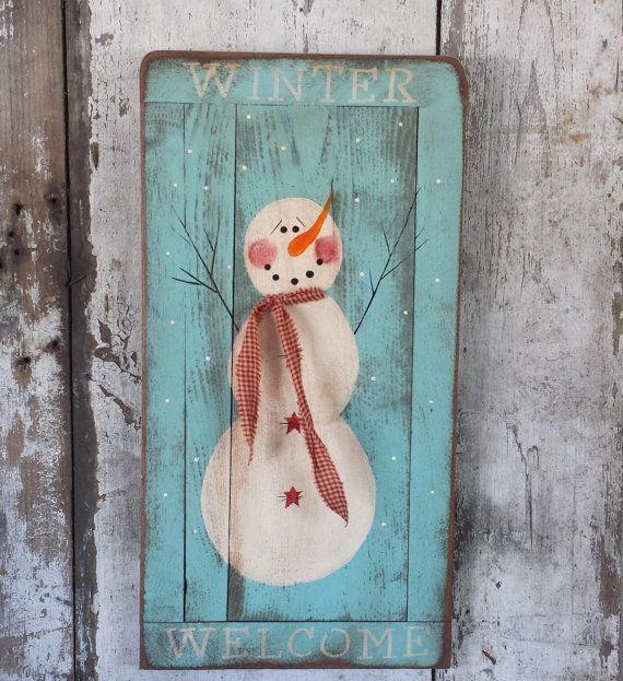Primitive Snowman Primitive Winter DecorSnowman by FlatHillGoods