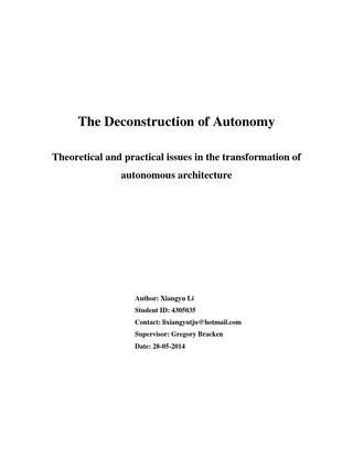 deconstruction of autonomy  Theory thesis in TU Delft