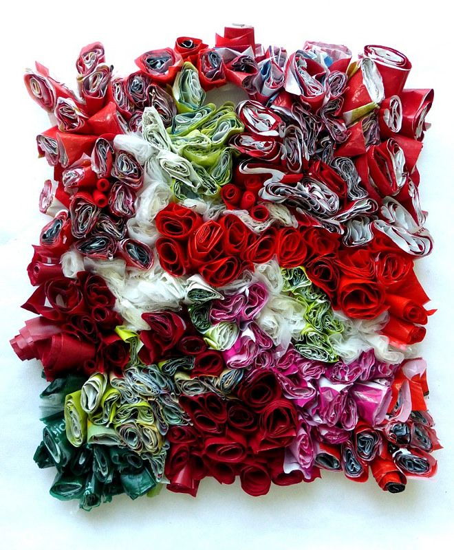 15 plastic bags, sewn together with gestures of joy. Ines Seidel