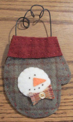 Felted Wool Christmas Mitten Ornament with Snowman