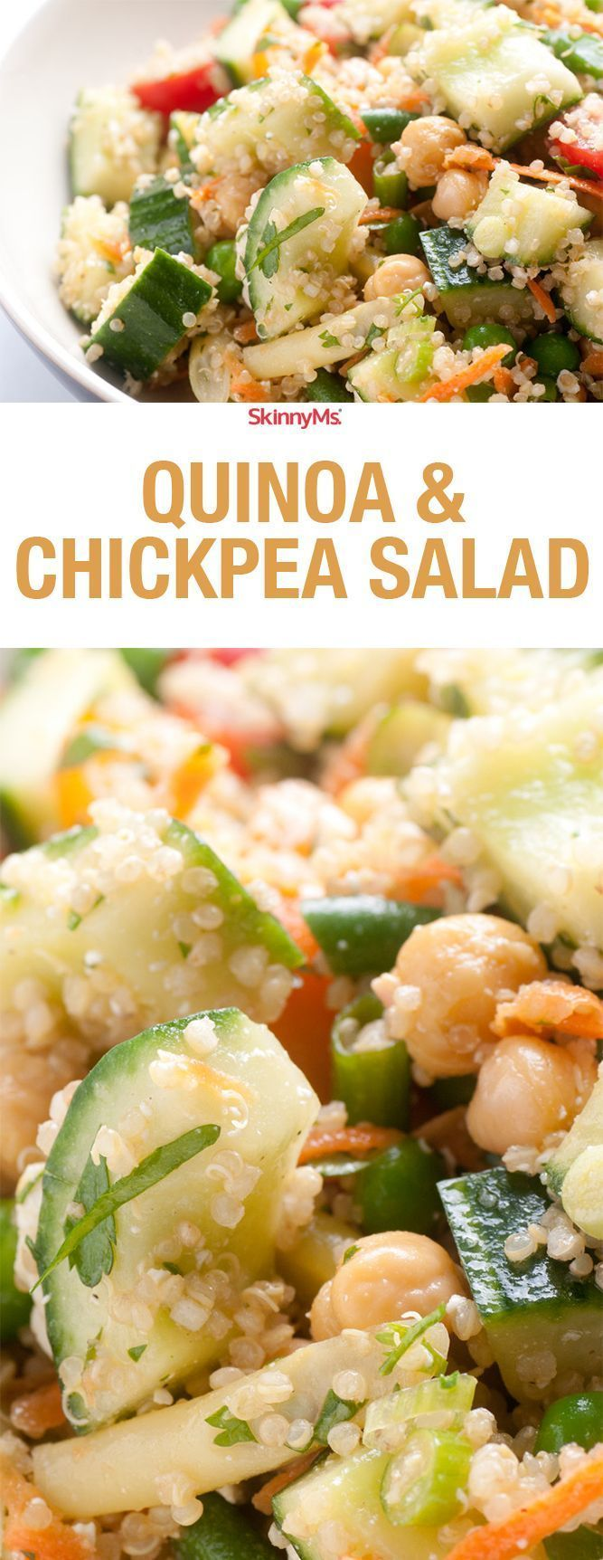 Quinoa & Chickpea Salad - Quinoa & Chickpeas are my favorite plant based proteins. Try this refreshing salad for lunch this week! :)