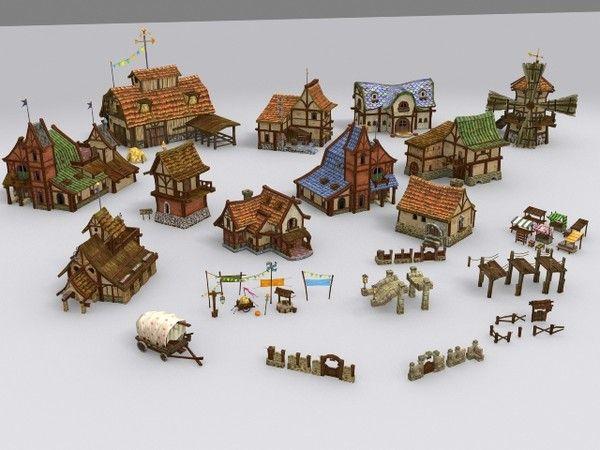 medieval fantasy town tiny 3d model - Tiny Town... by tinyutopia
