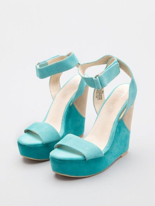 Teal Wedge Sandals / Jeffrey Campbell