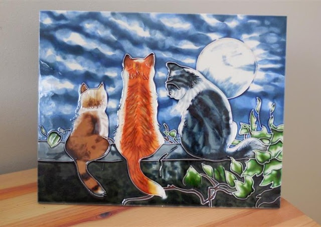 Ceramic picture cats Canadian art