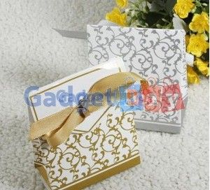 50x Useful Golden Silver Ribbon Wedding Party Favours Candy Paper Box Wraps Buy it on www.gadget-bay.com Free Shipping Europe wide