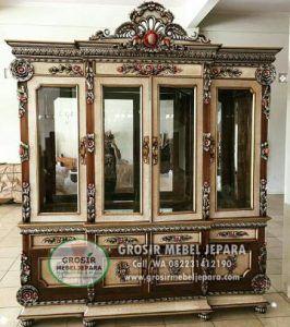 Bufet Hias Jati Mewah Jepara Terbaru 2018- Lemari Hias Mewah Jepara - Mebel Jepara Murah  | Grosir Mebel Jepara