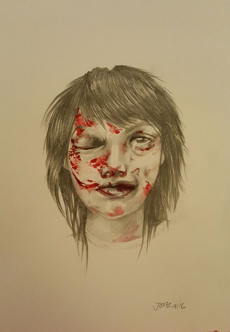 'I Saw You Flirting With Him'. Pencil and acrylic on A3 watercolour paper. Part of the art/protest project The Women highlighting violence against women. Joolz Denby.