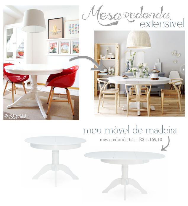 Mesa de jantar redonda extensível