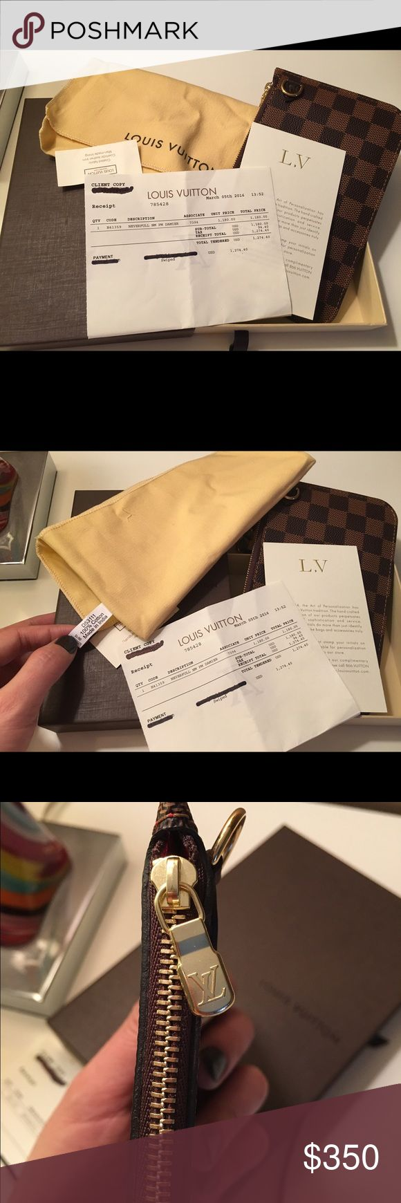LV neverfull PM pouch Winter cleaning , I would like to sell LV neverfull pm pouch damier. It brand new I bought for my niece but she doesn't like it Louis Vuitton Bags Wallets