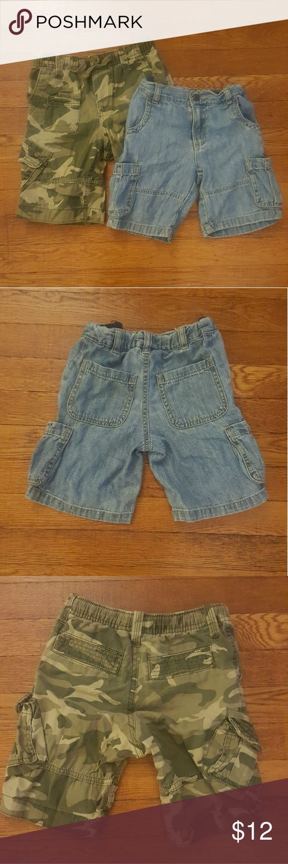 Gap and Cherokee cargo short bundle Camouflage shorts with real drawstring are size 3 by Gap; lightweight denim shorts with adjustable waist are 3T by Cherokee both in great condition from a pet/smoke free home GAP Bottoms Shorts