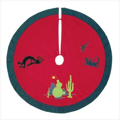 "$1.29-$19.95 Cactus Plush Red Tree Skirt Christmas Decor Decoration [Kitchen] - The mystical Kokopelli figure dances through the desert scenery on this colorful and unique Christmas tree skirt with a Southwestern flair. Embroidered plush. 40"" diameter. http://www.amazon.com/dp/B002QS6JAO/?tag=pin2wine-20"