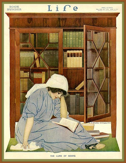 Life magazine The Lure of Books cover by Coles Phillips, June 8, 1911. ~via Plum leaves, Flickr