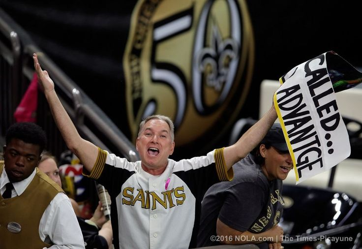 "Panthers vs. Saints:      October 16, 2016  -  41-38, Saints  -    Sign man, Larry Rolling spells his sign wrong ""Home Filed Advantge"" before the start of the Saints hosting the Panthers at the Mercedes-Benz Superdome in New Orleans Sunday October 16, 2016. (Photo by David Grunfeld, NOLA.com 