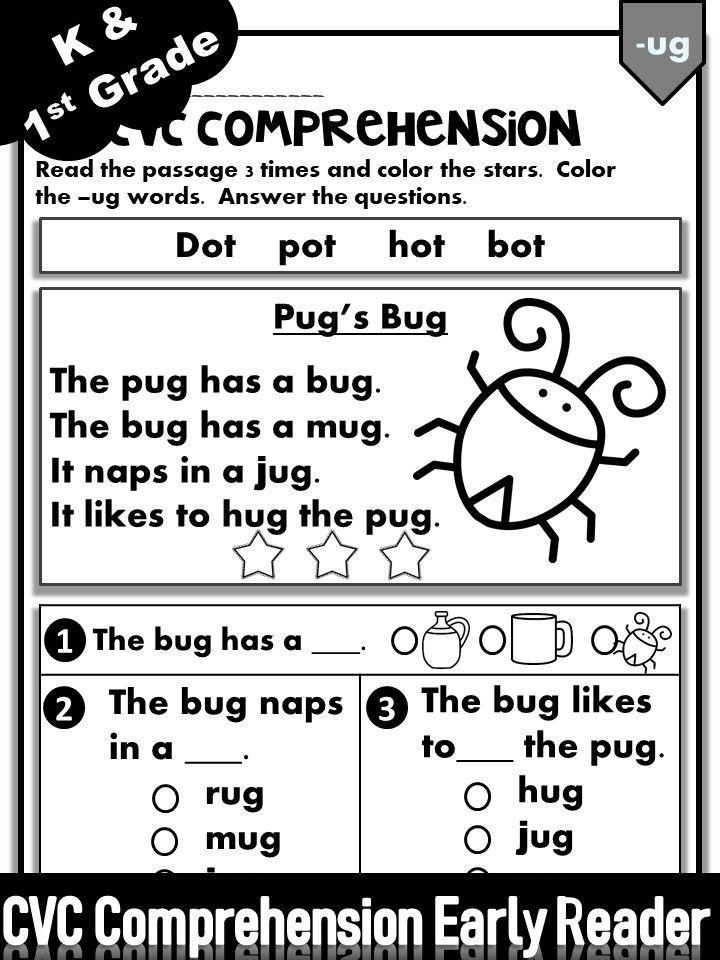 Phonics Worksheets -CVC Comprehension Early Readers (Kinder… Reading  Comprehension Worksheets, Reading Comprehension Kindergarten, Kindergarten  Phonics Worksheets
