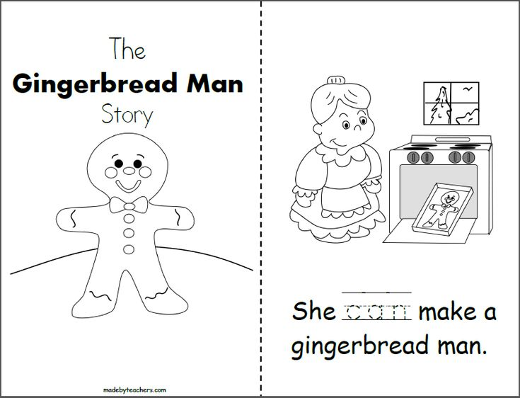 """Free Gingerbread Man Story for Kindergarten. Students practice writing the word """"can"""" to complete each page of the story. Next, they can read the story with instructional help and colo…"""