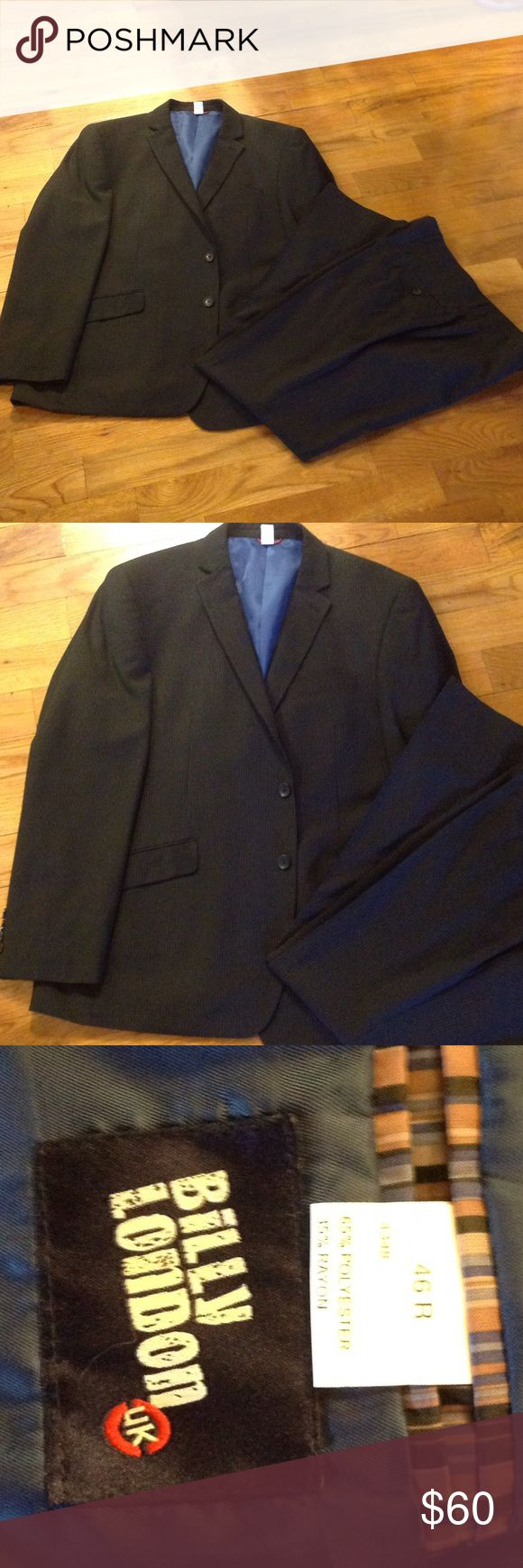 🎩Beautiful Black Pinstriped Suit🎩 This is a beautiful like new freshly dry cleaned black Pinstriped suit by Billy London suit coat is 46R Pants 38x 32 and are in the new modern slim leg style.  Coat lined in gorgeous blue satin  🎩 Billy London Suits & Blazers Suits