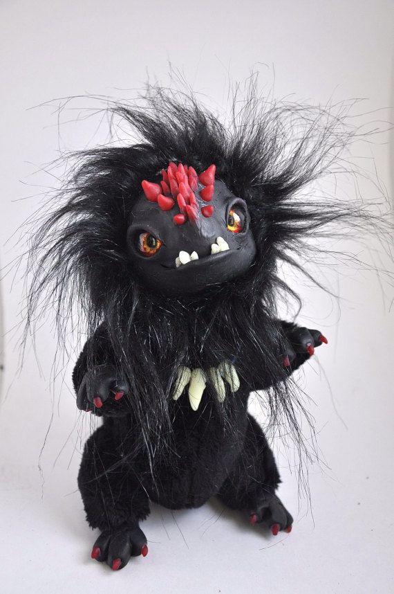 FANTASY PLUSH ANIMAL Coal Dragon Ooak Fantasy by FoxyMocksy