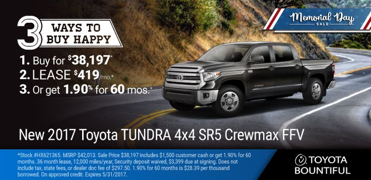 New 2017 Toyota Tundra: Memorial Day Sale: 3 Ways to Buy a New 2017 Toyota Tundra : Lease for $419/month for 36 months OR Purchase for $38,197 OR get at 1.9% for 60 months on approved credit. https://www.performanceut.com/offers/new-2017-toyota-tundra?utm_source=rss&utm_medium=Sendible&utm_campaign=RSS