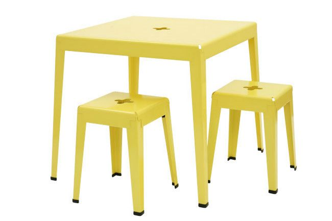 'Good One' powdercoated-steel table and stacking stools all in yellow by Alastair Keating, from Tait Outdoor.