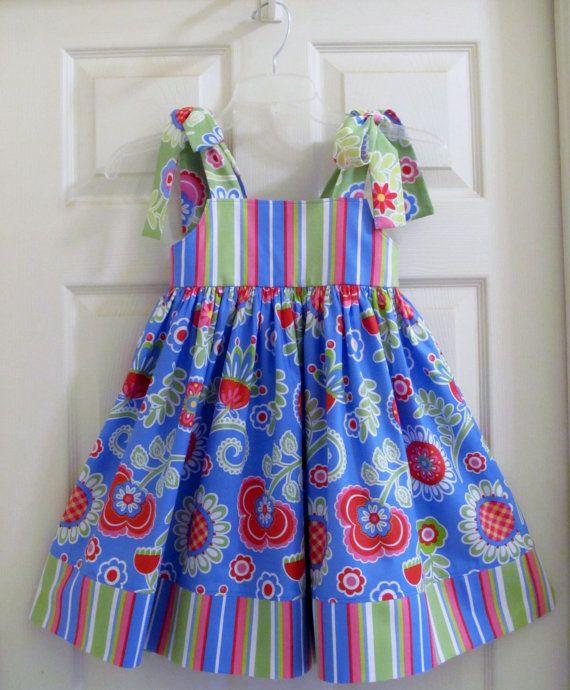Girls Dress Sundress Easter Dress Flowers by ThePetiteArmoire, $42.00