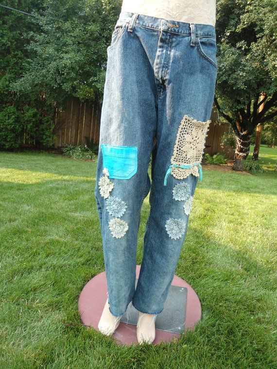 Size 24/26 Plus Size 40x30 Upcycled Boyfriend Jeans Lace patches hippie boho style clothes redesigned repurposed womens statement by LandofBridget