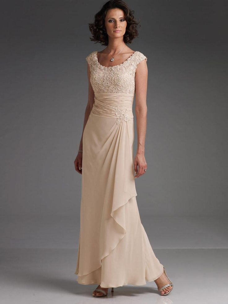 Wholesale Other Wedding Dresses - Buy - 2014 New Elegant Champagne Chiffon And Lace Long Mother Of The Bride/Groom Dresses Evening Cap Sleeves 110619, $143.99 | DHgate